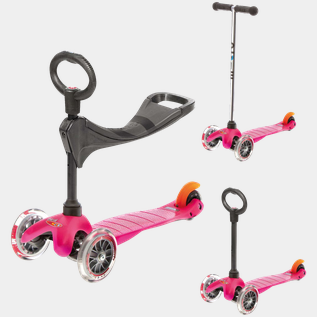 MiniMicro 3 3-in-1 pink scooter, sparkcykel
